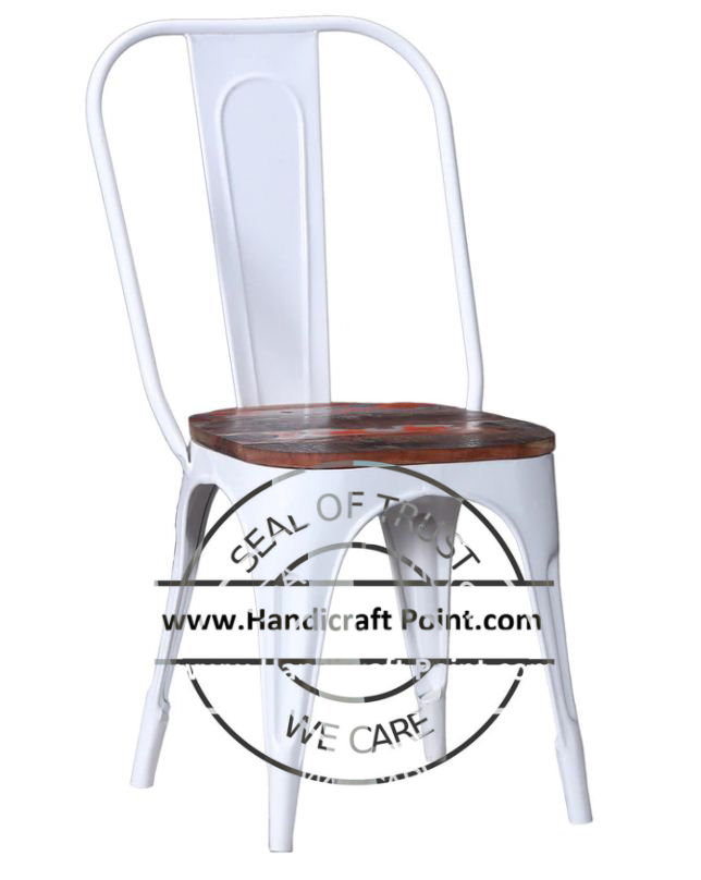 Metal Tolix Chair with reclaimed wooden