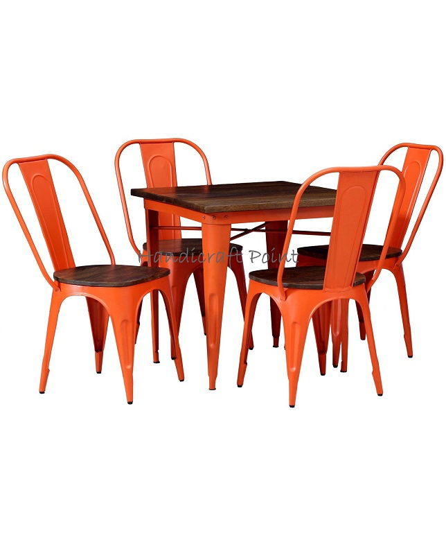 Metal and wood restaurant dining sets