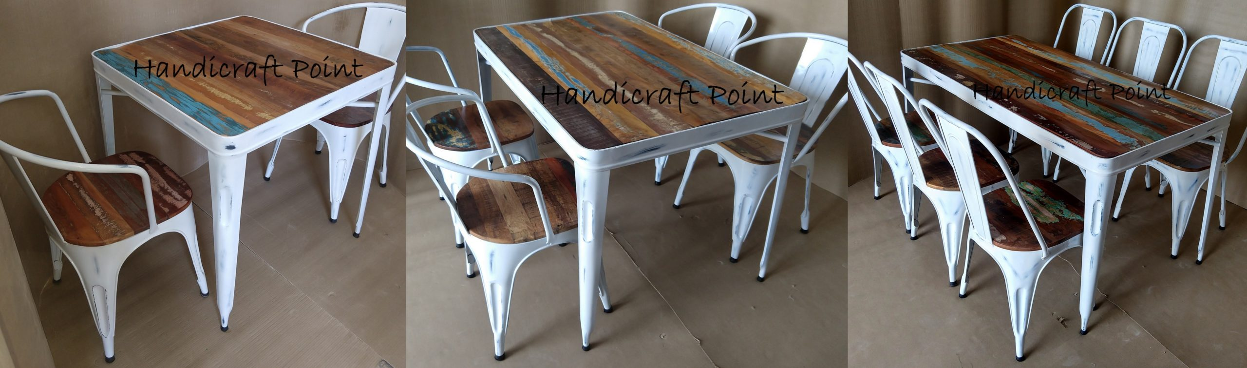 Rustic industrial Restaurant Dining Table and Chairs