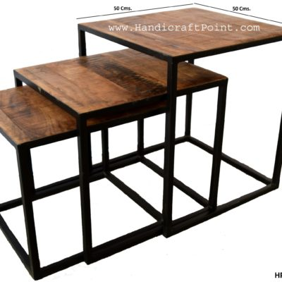 Iron Wooden Rectangle Nested Coffee Table SET OF 3