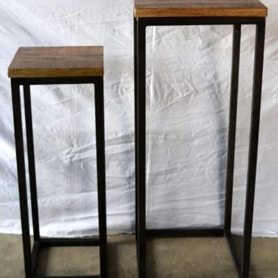 Iron Wooden Rectangle Stool SET OF 2