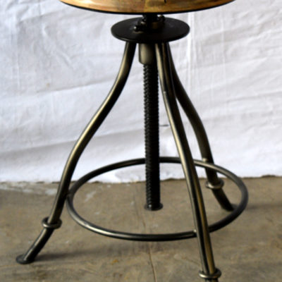 Iron Revolving Stool with Wooden Seat  (Seat Size: 31 cmx31 cm)