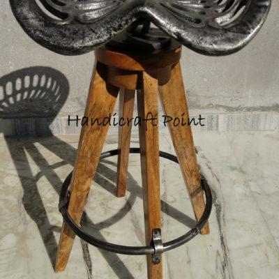Wooden 4 Leg tractor seat bar stool
