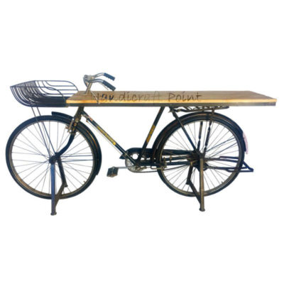 Bicycle console with a metal basket