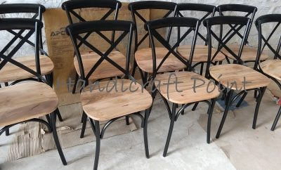 Iron X Back chair with wooden seat