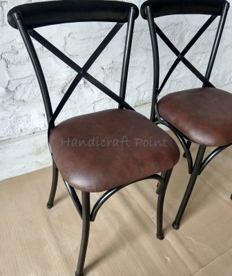 Iron X Back chair with Cushion seat