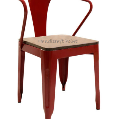 Iron Cafe chair with wooden seat