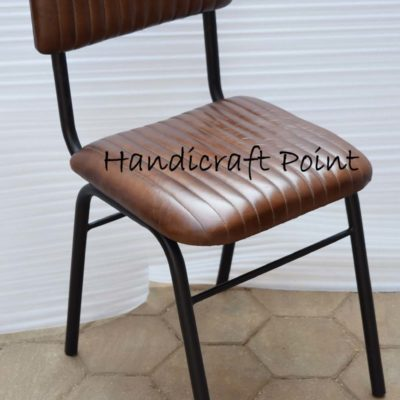 Iron powder coated chair with cushion seat