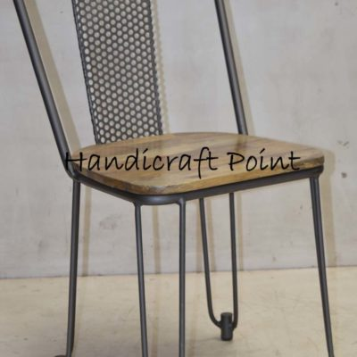 Iron Chair with Net back and wooden seat