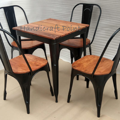Industrial Tolix chair and table set for 2 or 4 person seating