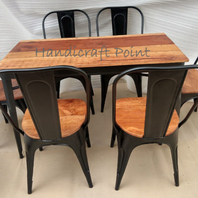 Industrial Tolix chair and table set for 4 or 6 person seating