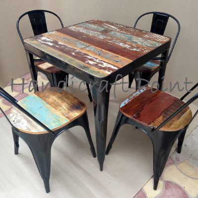 Industrial Tolix Chair and table with reclaimed color wooden top