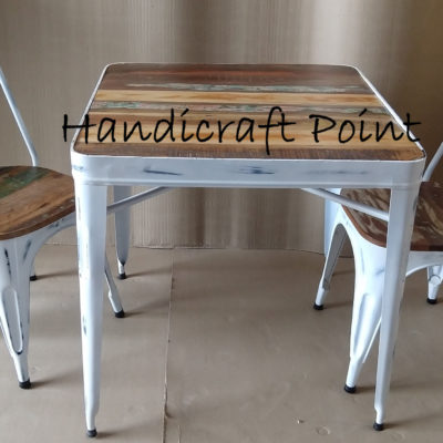 White distressed Industrial Tolix Chairs and table with reclaimed color wooden top 2 seating