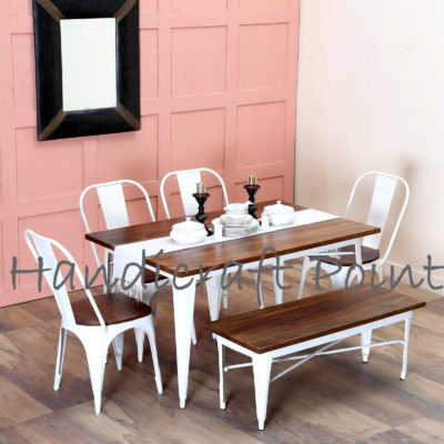 Tolix caf? Table, Chairs and Bench Set in white glossy