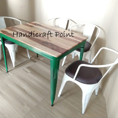 Tolix Table with sheesham wood top and  Arm chair with  cushion set