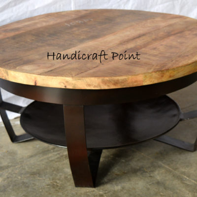 Industrial Coffee Table Round Industrieel Salontafel Mangohout Rond
