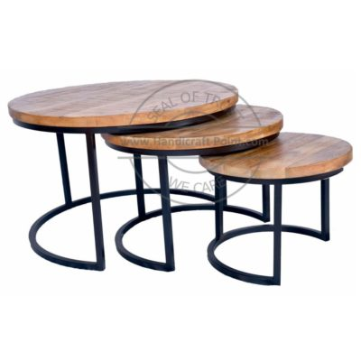 Salontafel Set van 3 (Coffee Table SET OF 3) metal with mango wood