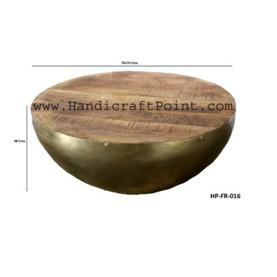 Iron Wooden Half Round Coffee Table(Nickel Plated)