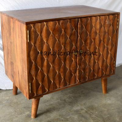 Wooden 2 Door Wine Rack Style Side Cabinet