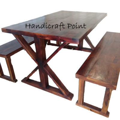 Wooden x dinning table with 2 benchs
