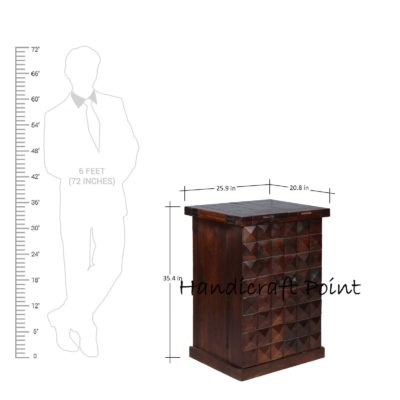 Sheesham Wood Dimond Bar Cabinet