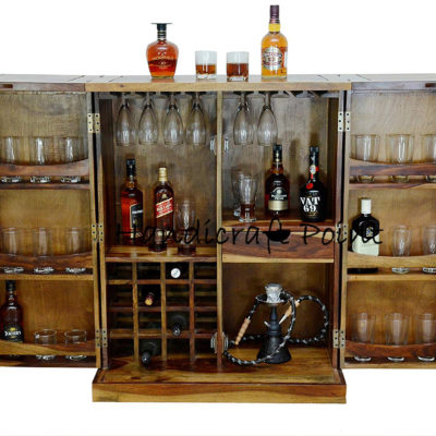 Stylish Brown Bar Cabinet With Wine Glass Storage 1