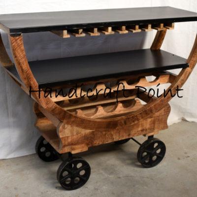 Industrial Wood Metal Wine Rack on Wheels