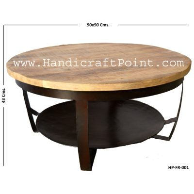 Industrieel Salontafel mangohout rond Industrial Coffee Table Round