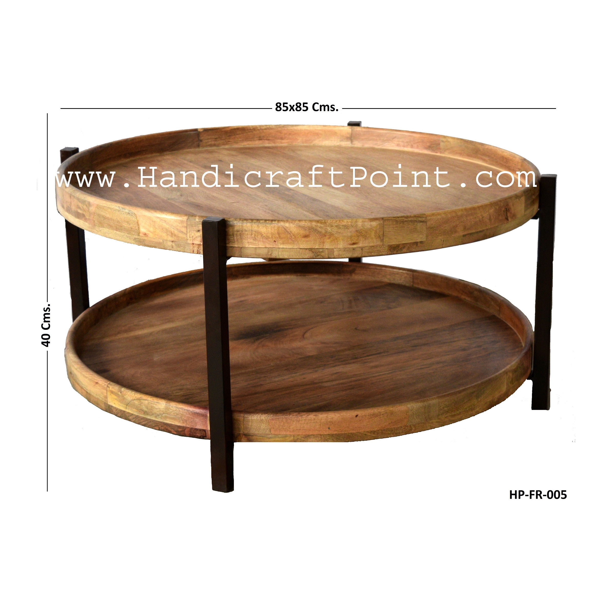 Iron 2 Wooden Plate Pipe Coffee Table Handicraft Point