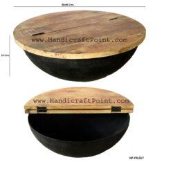 Iron Round Storage Coffee Table