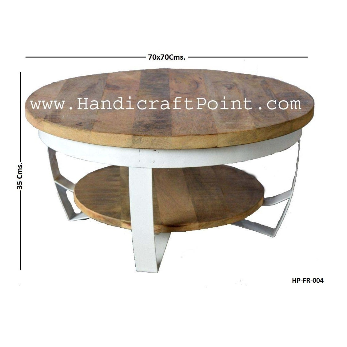 Round Coffee Table Paras Metal With Mango Wood