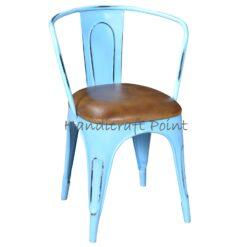 Industrial Vintage Armrest Cafe chair Skyblue distressed