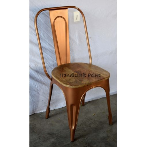 MS powdercoated cafe chair with wood seat
