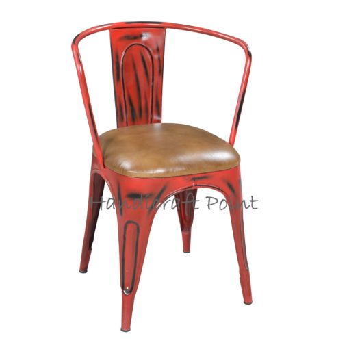 Metal Armrest Tolix chair with cushion red distressed