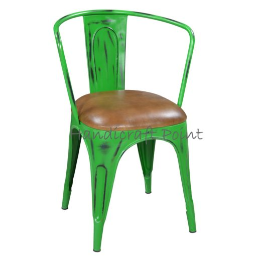Metal Armrest chair with cushion Green Distressed