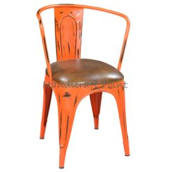 Metal Armrest chair with cushion Green Orange Distressed