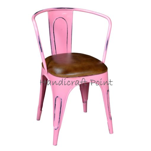 Metal Armrest chair with cushion Green Pink Distressed