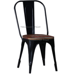 Cafe Tolix Chair with reclaimed wooden seat