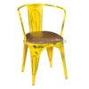 Rustic cafe chair with cushion yellow distressed