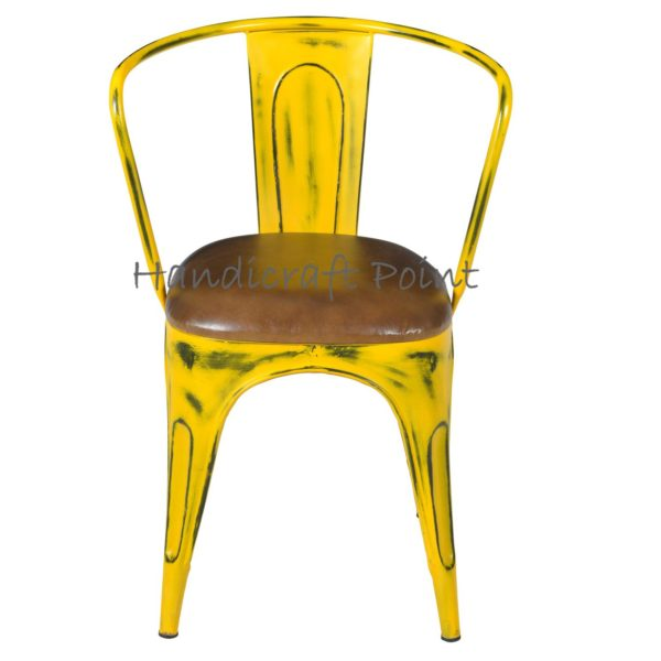 Rustic restaurant chair with cushion yellow distressed