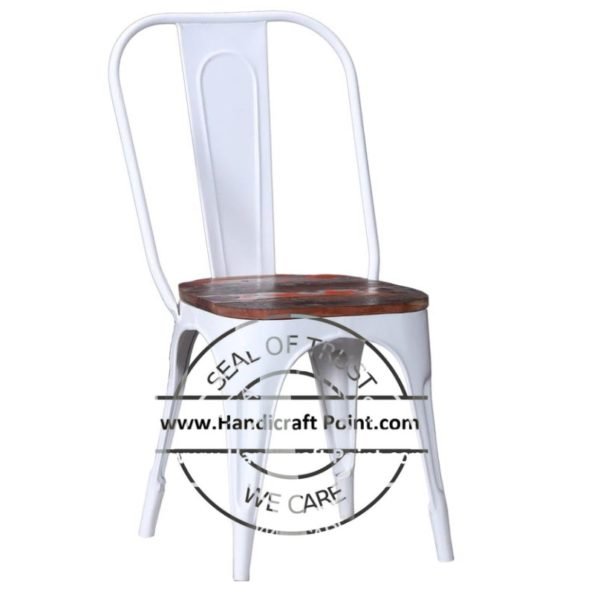 Tolix Dining Chair with color wood seat